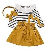 DaMohony Ensemble de 3 pièces pour bébé fille avec barboteuse à manches longues et bandeau à rayures - - 6 mois