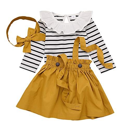 DaMohony Kleid für Babys, Mädchen, Outfit-Set mit langen Ärmel, gestreifter Strampler, Rock mit Hosenträgern und Stirnband, 3-teiliges Set Gr. 70 cm(0-3 Monate), Ginger Yellow