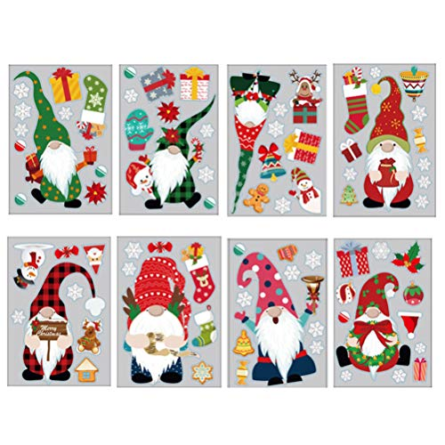 Mgsiko Fensterdeko Weihnachtsmann, Tomte Gnom Fensteraufkleber, Fensterbilder Abnehmbare Fensterdeko Statisch Haftende PVC Aufkleber für Weihnachts-Fenster Dekoration, 8 Stück