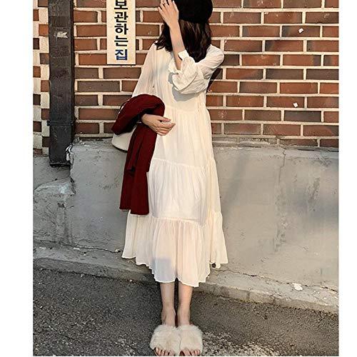 GangKun herfst, nieuw, vrij, medium en lang, wit, herfst, lange mouwen, chiffon, jurk, vrouw, herfst en winter, lange rok
