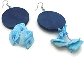 CHADADA Hawaiian Style Sea Shells & Wood Dangle Earrings Handmade for Women