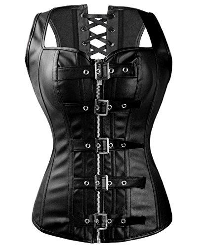 Fashion Corset Top Overbust Steampunk Bustier Lace Up Women's Buckle&Zipper Faux leather Waist Cincher Corset