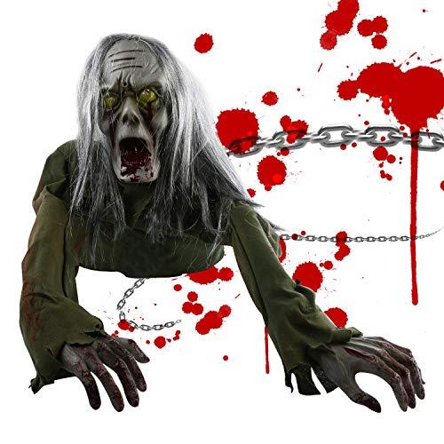 Animierte Halloween-Dekorationen Maxjaa Sound & Touch-aktivierte Halloween-Puppen, kriechende Baby-Zombie-Scary-Ghost-Babypuppe für Halloween-Spukhausdekor mit blinkenden Augen, schreckliche Geräusche