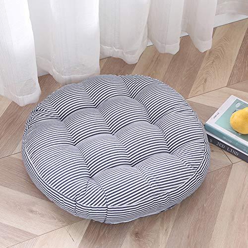 FLIPS - Cojín de asiento de algodón y lino, diseño de rayas, color azul, 50 x 50 cm