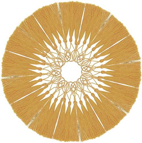 Circe-eu 100 Stück goldene Quasten, 13 cm, Mini-Bastelquasten, Seidenseide, Lesezeichen, Quasten mit Schlaufen für Schmuckherstellung, handgefertigte DIY-Projekte, Souvenir