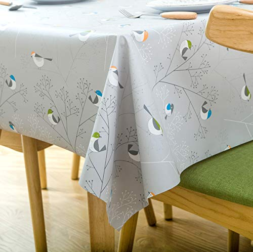 LEEVAN Heavy Weight Vinyl Rectangle Table Cover Wipe Clean PVC Tablecloth Oil-Proof/Waterproof Stain-Resistant-54X72 Inch - 137X185 cm(Small Bird)