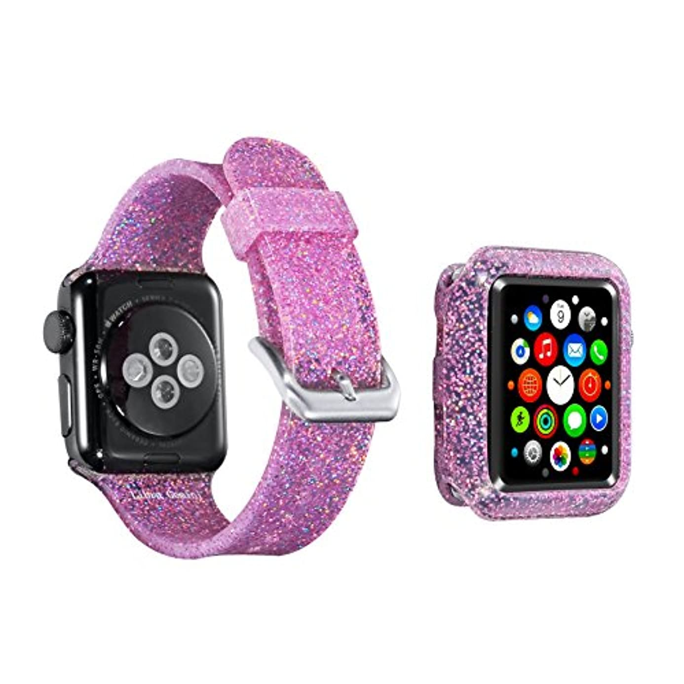 for Apple Watch Band 42mm Apple Watch case iWatch Band for Women Bling Stylish Glitter Silicone Sports Replacement Strap for Apple Watch Series3/2/1 (42mm-Pink Band Bumper Set) rlx4664193