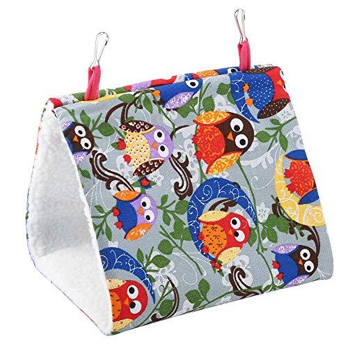 Vogel hangmat, warme zachte papegaaiennest hangbed pluche Snuggle Happy Hut-tent voor parkiet valkparkiet dwergpapegaaien Budgie Finch Canary(Uil maan)