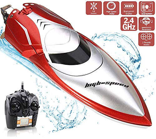 Haktoys High-Speed 25KM/H RC Remote Control Boat, Double-Hatch Protection, Low Battery Reminder - LCD Screen Radio Control, Hobby Racing for Pools & Lakes