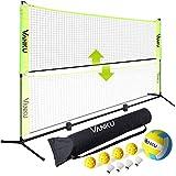 Vanku Rete da badminton e pallavolo per giardino, portatile pieghevole e regolabile,per ba...