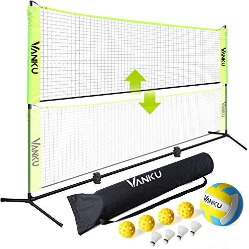 Vanku Rete da badminton e pallavolo per giardino, portatile pieghevole e regolabile,per bambini,con pallavolo,4 volani da badminton con piume d'oca,4 palline per sottaceti,installazione facile,leggero
