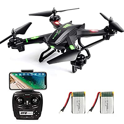 LBLA FPV Drone Helicopter with Wifi Camera Live Video Headless Mode 2.4GHz 4 CH 6 Axis Gyro RTF RC Quadcopter, Compatible with 3D VR (Including 2 batteries)