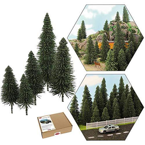 S0804 40pcs Dark Green Pine Model Cedar Trees 2.05-4.96 inch (52-126 mm) for Model Railroad Scenery Landscape Layout HO OO Scale New