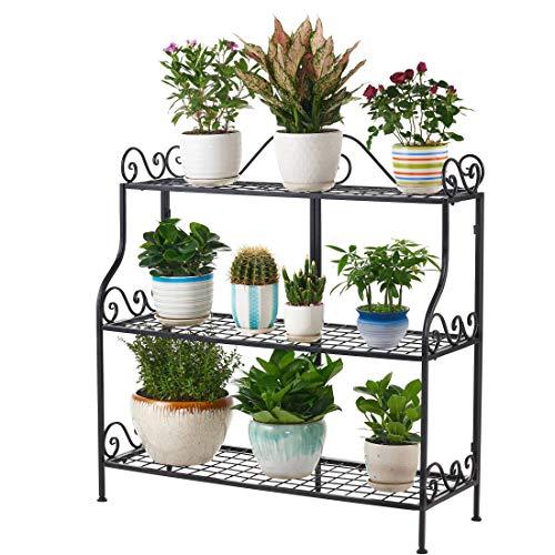 FaithLand Metal Scrollwork Design 3 Tier Plant Stand Indoor/Outdoor, Home Storage Organizer Shelf Rack, Flower Pots Holder, Plant Display Rack, Stand Shelf, Black