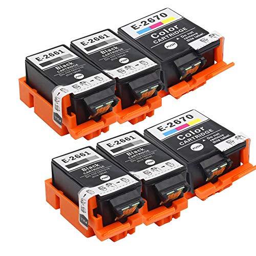 Teland 266 267 T2661 T2670 - Cartucho de tinta compatible con Epson Workforce WF-100W (4 Negro, 2 Tri-Color)