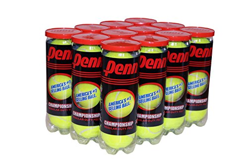 Penn Championship Tennis Balls - Regular Duty Felt Pressurized Tennis Balls - 12 Cans, 36 Balls