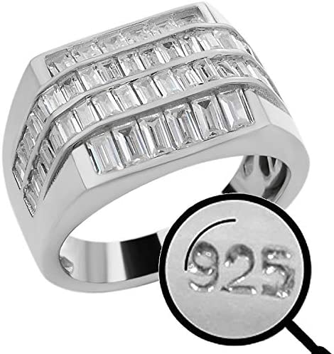 Solid 925 Sterling Silver Iced Baguette Men s Silver Ring Sizes 7 13 Heavy Pinky Or Statement product image