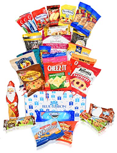 Christmas Chocolate & Snacks Variety (32 Count) Gift Care Package Box Basket Peppermint Pretzels, Cookies, Santa, Cady, Nuts Pack for Girl, Boy & Family, Students, College Son Daughter Men Women Kids