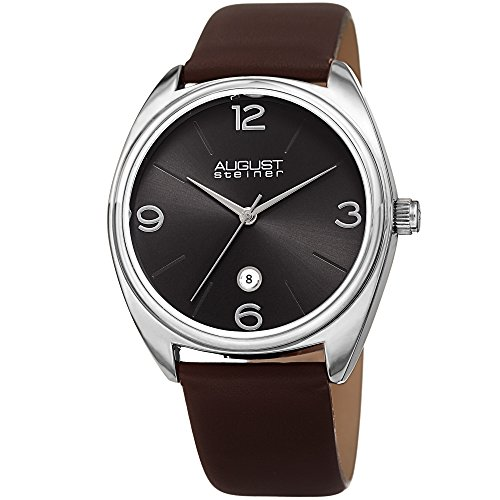 August Steiner Simple Men's Watch - Clear Sunray Dial Date Window at 6 O'Clock On Genuine Leather...