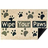 ACBungji Wipe Your Paws Front Door Mat Outdoor,18x28 inch Funny Small Rug Carpet for Home Farmhouse Office Entrance Inside Porch,Ultra Thin 1/8 Low Profile Washable All Weather