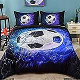 Andency 3D Soccer Comforter Twin(66x90 Inch), 2 Pieces(1 Soccer Comforter, 1 Pillowcase) Blue Flame Soccer Comforter Set Sport Microfiber Bedding Set for Boy Kids, Teen