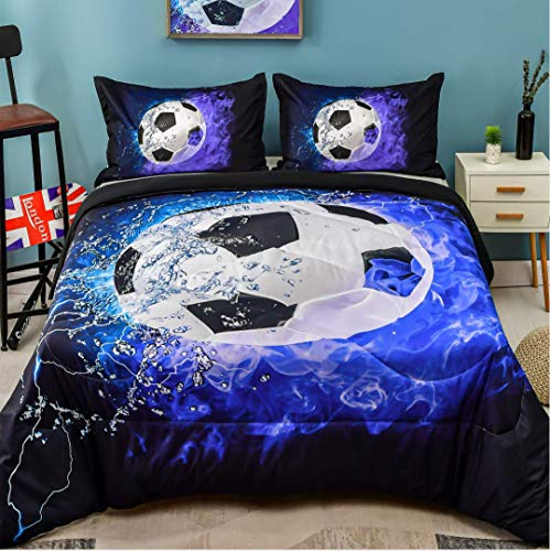 Andency 3D Soccer Comforter Queen(90x90 Inch), 3 Pieces(1 Soccer Comforter, 2 Pillowcases) Blue Flame Soccer Comforter Sport Microfiber Bedding Set for Boy Kids, Teen