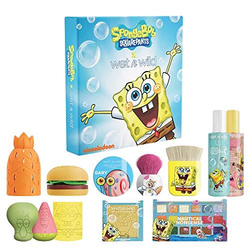 Wet n Wild Squarepants Makeup Collection Makeup Brushes Makeup Sponges Eyeshadow Palette Primer Spray 310014265, SpongeBob PR Box, 35.2 Ounce