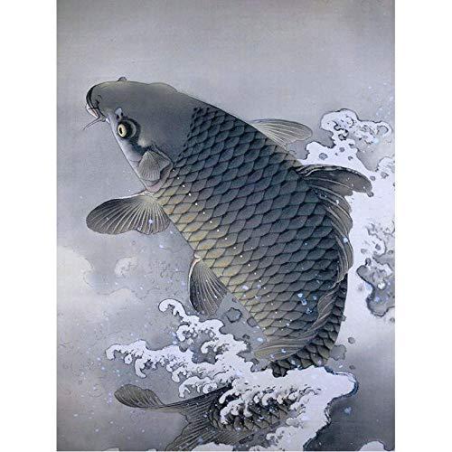 Kit de pintura digital para adultos de peces en agua animal, arte abstracto para colorear, lienzo de bricolaje, adecuado para niños o adultos, principiante SDHJMT 16x20inch