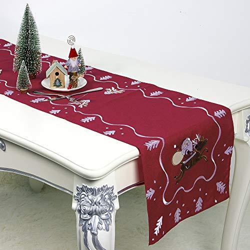 HALOViE Camino de Mesa Decoracion de Navidad Corredor Mesa 40 * 180cm Tapetes Mantel Navidad Mesa Decoracion Adorno para Fiesta Casa Hotel Navidena Fiestas Iinteriores o al Aire Libre