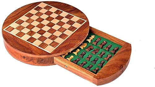 Metallic India Juego de ajedrez magnético de madera redonda de 9 pulgadas con cajones y piezas Staunton.