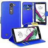 LG Magna / LG G4C Handy Tasche, FoneExpert® Wallet Hülle Flip Cover Hüllen Etui Ledertasche Lederhülle Premium Schutzhülle für LG Magna / LG G4C (Blau)