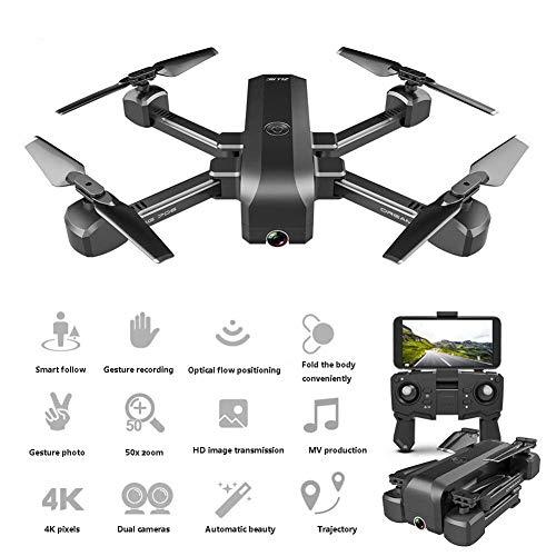 LYHLYH 4K Drone Pliage, Flux Optique Photographie aérienne Double caméra Super Longue Endurance télécommande Quadcopter Autoriser Gesture Photo/vidéo Selfie Drone