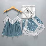 Handaxian Conjunto de Pijama de Encaje Pijamas de satén Liso Mujeres Pijamas con Correa de Espagueti con Cuello en v Pijamas de Seda Fina qianlv XL