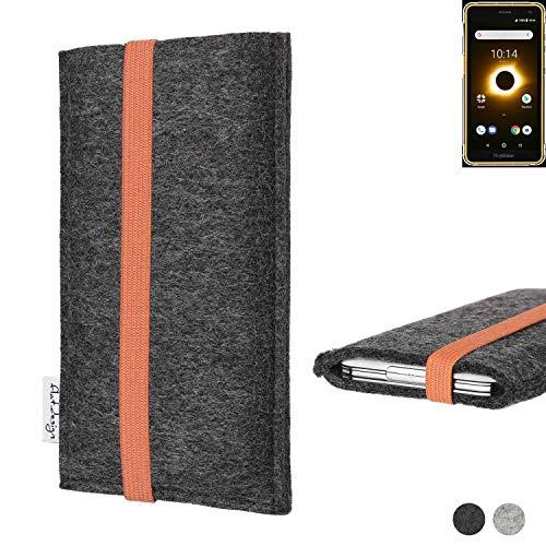 flat.design Handy Tasche Coimbra für Ruggear RG650 - Schutz Hülle Tasche Filz Made in Germany anthrazit orange