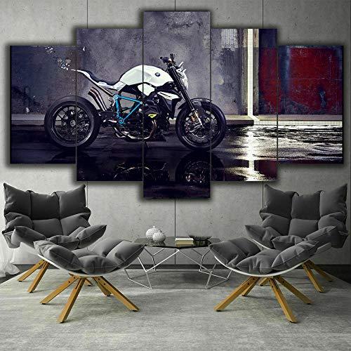 Cuadro Concepto De Ciclista De Bicicleta Roadster XXL Impresiones En Lienzo 5 Piezas Cuadro Moderno En Lienzo Decoración para El Arte De La Pared del Hogar 150×80 Cm HD Impreso Mural (Enmarcado)