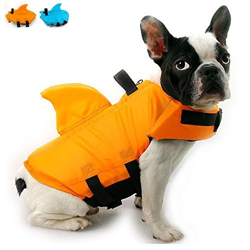 SNIK-S Dog Life Jacket- Preserver with Adjustable Belt, Pet Swimming Shark Jacket for Short Nose Dog (Pug,Bulldog,Poodle,Bull Terrier) (M, Orange)