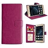 eFabrik Schutztasche für Huawei P9 Lite Hülle Handy Tasche Bookstyle Hülle Schutzhülle Smartphone-Zubehör, Farbe:Lila