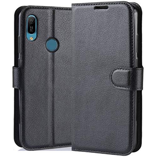 HualuBro Huawei Y6s Hülle, Premium PU Leder Stoßfest Klapphülle Schutzhülle HandyHülle Handytasche Wallet Flip Hülle Cover für Huawei Y6s Tasche (Schwarz)
