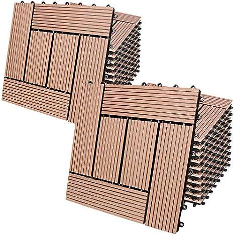 Deuba Set de 22 Baldosas de WPC Mosaico Terracota 30x30m 2m² Montaje por Clips y Sistema de Drenaje
