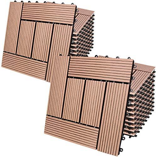 Deuba Set de 22 baldosas losas de WPC Terracota Modelo 'Mosaico' para jardín terraza Exterior Sistema de Encaje 30x30cm