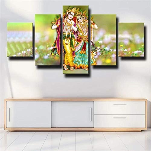 5 Pieces Canvas Painting Lord Krishna Radha Hindu Poster Wall Art Suitable for Living Room, Bedroom, Study, Children's Room,Creative Gift,Ready to Hang