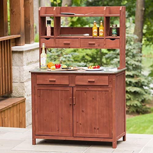 UKN Outdoor Kitchen Prep Station Brown Tan Stainless Steel Wood