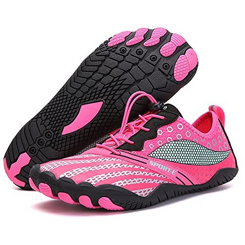 KUXUAN Zapatos de ciclismo-2021 nuevos zapatos de red de cinco dedos al aire libre senderismo versión deportiva zapatos de senderismo zapatos de escalada en roca de campo traviesa, rosa-42