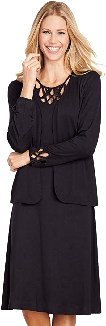 AmeriMark Price reduction Women's Cutwork Open Max 85% OFF Front Leng Jacket and Blazer Knee