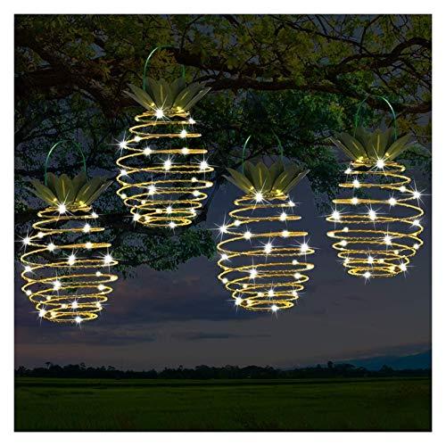 Linterna solar al aire libre, Pineapplelelights de espiral solar, linternas de arte creativo de hierro, lámpara decorativa colgada de LED para al aire libre, jardín, patio, porche, camino, patio, luce