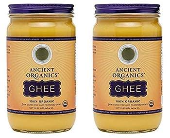 Ancient Organics Ghee Organic Grass Fed Ghee Butter – Gluten Free Ghee Clarified Butter Vitamins & Omegas Lactose Reduced 100% Certified Organic Kosher USDA Certified – 32 Fl Oz Pack of 2