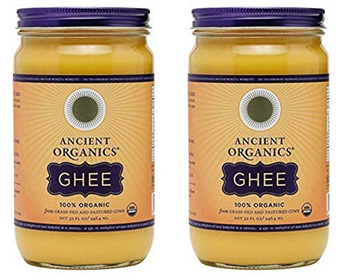 Ancient Organics Ghee, Organic Grass Fed Ghee Butter – Gluten Free Ghee, Clarified Butter, Vitamins & Omegas, Lactose Reduced, 100% Certified Organic, Kosher, USDA Certified – 32 Fl Oz (Pack of 2)