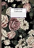 Cuaderno A4 Cuadriculado: Cuadrícula de 5 x 5 mm - Cubierta flexible - Patrón floral vintage (cuaderno folio a4)