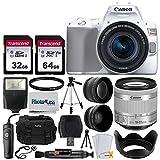 Canon EOS Rebel SL3 Digital SLR Camera (White) + EF-S 18-55mm f/4-5.6 IS STM Lens (Silver) + 58mm 2X Professional Telephoto & 58mm Wide Angle Lens + 32GB & 64GB Memory Card + Case + Tripod + Lens Hood