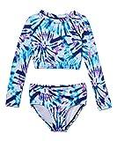 Kanu Surf Girls' Long Sleeve Rashguard Two Piece Swim Set, Camille Crop Denim, 8